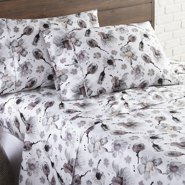 Soft and Comfortable Grey and Pink Grand Symphony Floral Briteyarn Cotton Sheet and Pillowcase Set by Southshore Fine Linens Image 2