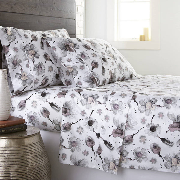 Soft and Comfortable Grey and Pink Grand Symphony Floral Briteyarn Cotton Sheet and Pillowcase Set by Southshore Fine Linens Main Image