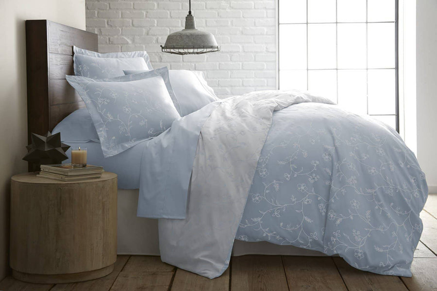 Sweet Brier Cotton Sateen Ballard Blue Comforter and Sham set by Southshore Fine Linens Image 2