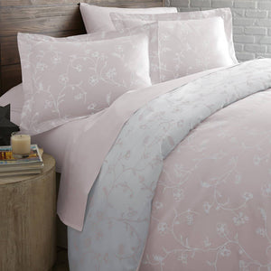 Sweet Brier Cotton Sateen Pastel Pink Comforter and Sham set by Southshore Fine Linens Image 2