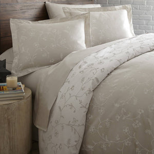 Sweet Brier Cotton Sateen Soft Sand Comforter and Sham set by Southshore Fine Linens Image 2
