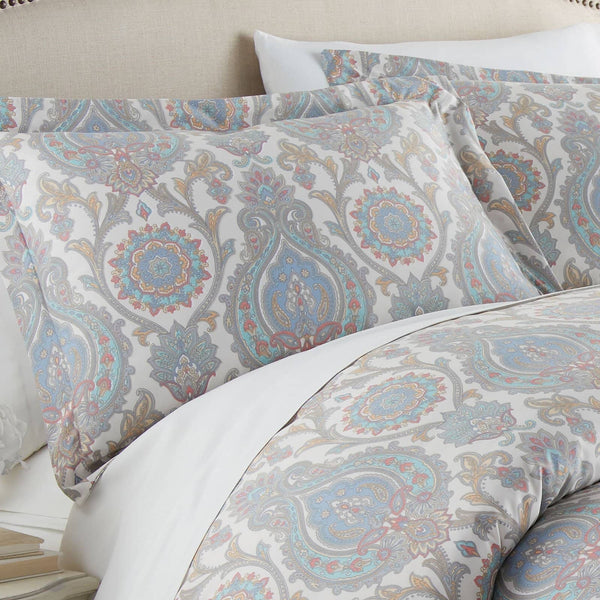 Boho Paisley Reversible Duvet Cover Set in Aqua