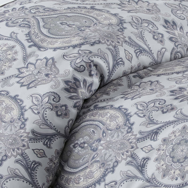 Boho Paisley Reversible Duvet Cover Set in Grey