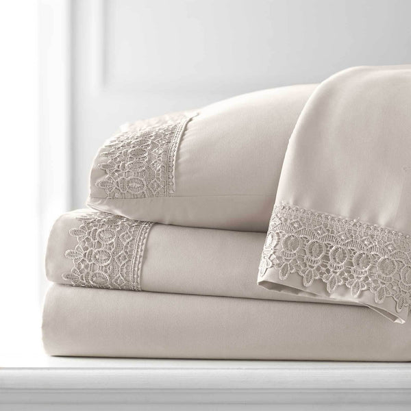 Vintage 4-piece Crochet Lace Hem Extra Deep Pocket Comfortable Sheet Set in Bone