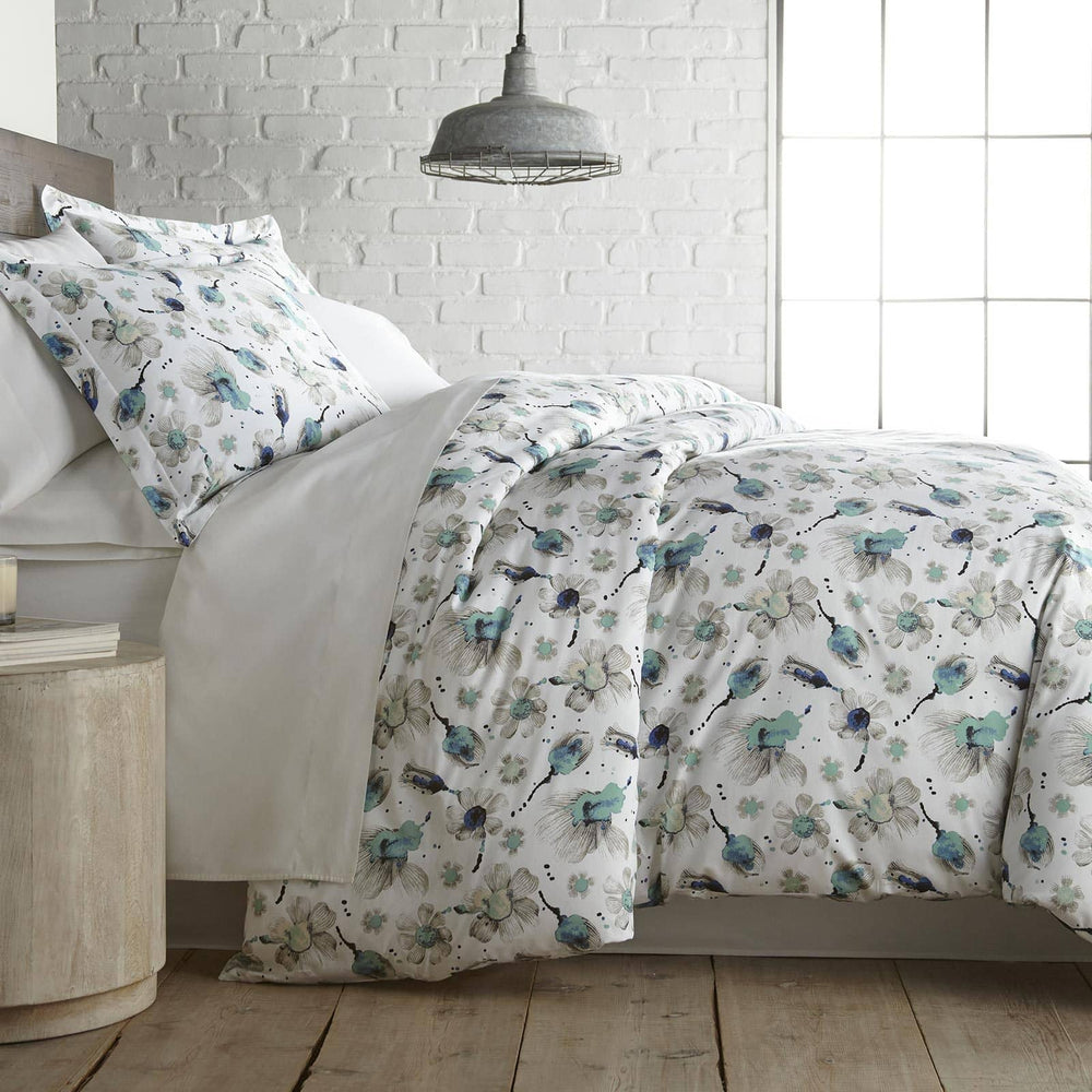 Grand Symphony Reversible Cotton Duvet Cover Set in Blue
