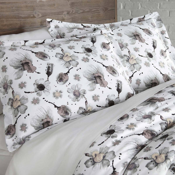 Grand Symphony Reversible Cotton Duvet Cover Set in Grey