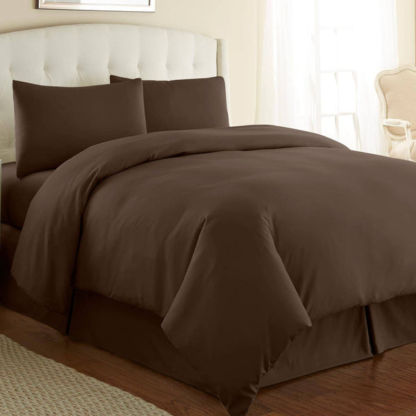 Briteyarn - 300 TC 100% Cotton Extra Long Staple Sateen Duvet Cover Set in Brown