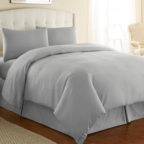 Briteyarn - 300 TC 100% Cotton Extra Long Staple Sateen Duvet Cover Set in Steel Grey
