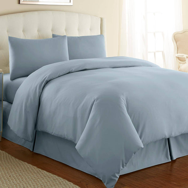 Briteyarn - 300 TC 100% Cotton Extra Long Staple Sateen Duvet Cover Set in Steel Blue