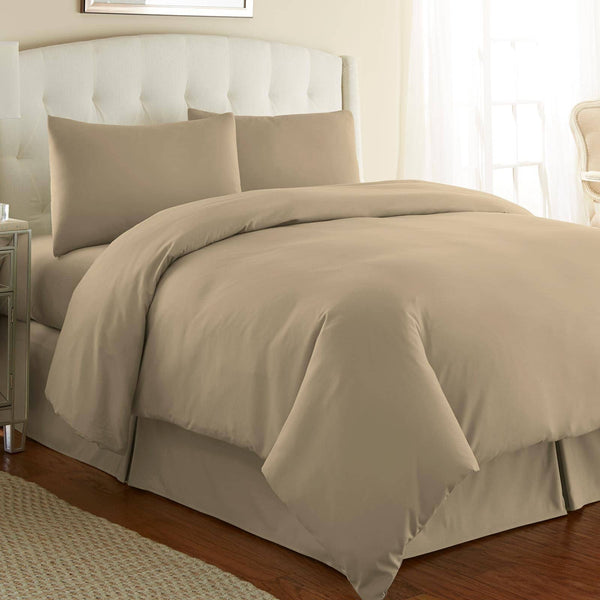 Briteyarn - 300 TC 100% Cotton Extra Long Staple Sateen Duvet Cover Set in Taupe