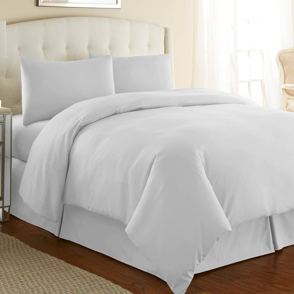 Briteyarn - 300 TC 100% Cotton Extra Long Staple Sateen Duvet Cover Set in Bright White