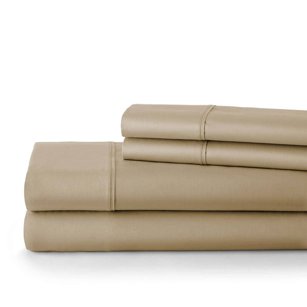 Briteyarn - 300 Thread Count 100% Cotton Extra Deep Pocket Sheet Sets in Taupe