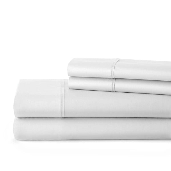 Briteyarn - 300 Thread Count 100% Cotton Extra Deep Pocket Sheet Sets in Bright White