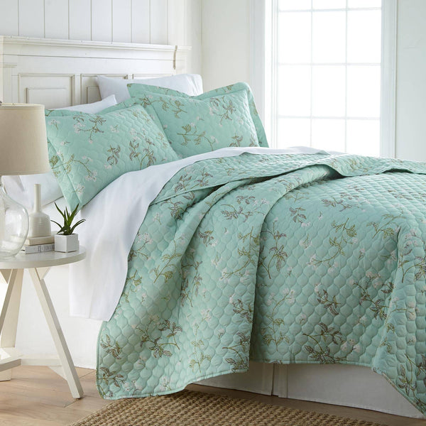 Myosotis Scorpiodes 100% Cotton Sateen Ultra-Luxurious & Soft Quilt Set in Green