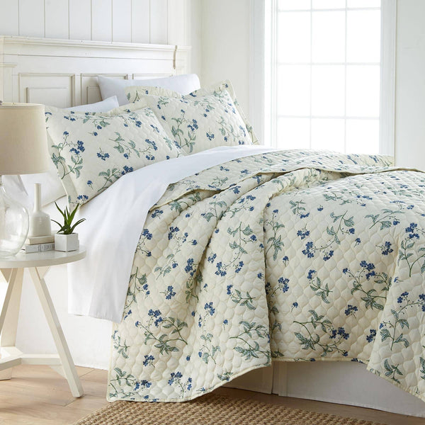 Myosotis Scorpiodes 100% Cotton Sateen Ultra-Luxurious & Soft Quilt Set in Off White