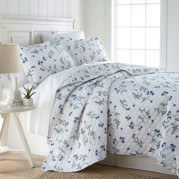 Myosotis Scorpiodes 100% Cotton Sateen Ultra-Luxurious & Soft Quilt Set in White