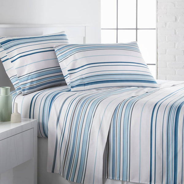 Coastal Stripes Printed Sheet Sets in Blue Stripes