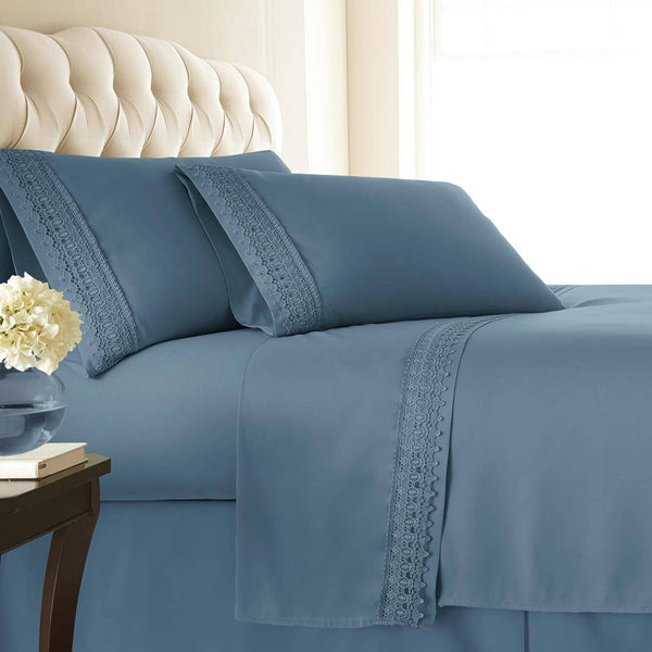 Vintage 4-piece Crochet Lace Hem Extra Deep Pocket Comfortable Sheet Set in Coronet Blue