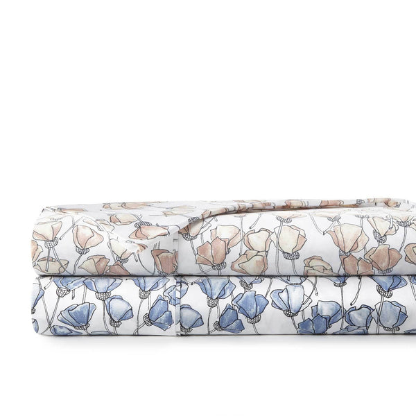 Forevermore 100% Cotton Sateen Pillow Cases in blue and blush
