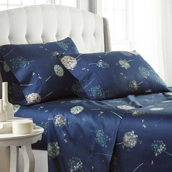 Dandelion Dreams 100% Cotton Sateen Pillow Cases in Navy Blue