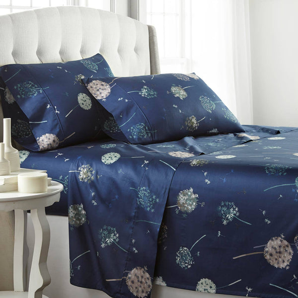 Dandelion Dreams Extra Deep Pocket Printed Sheet Set in Navy Blue