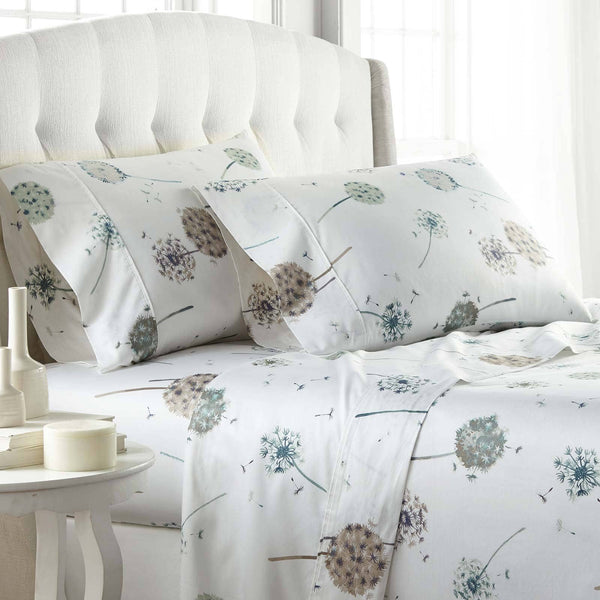 Dandelion Dreams 100% Cotton Sateen Pillow Cases in White
