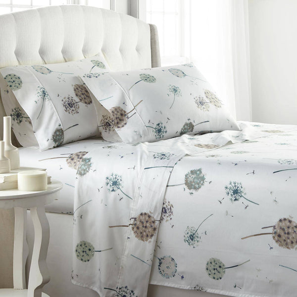 Dandelion Dreams Extra Deep Pocket Printed Sheet Set in White