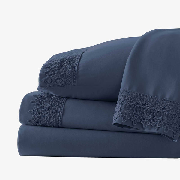 Vintage 4-piece Crochet Lace Hem Extra Deep Pocket Comfortable Sheet Set in Dark Blue