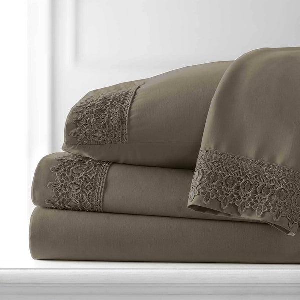 Vintage 4-piece Crochet Lace Hem Extra Deep Pocket Comfortable Sheet Set in Dark Taupe