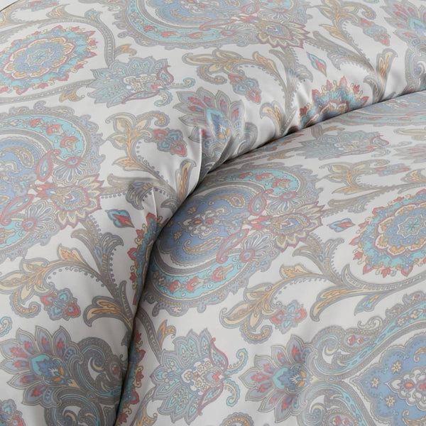 Boho Paisley Reversible Comforter Set in Aqua