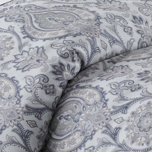 Boho Paisley Reversible Comforter Set in Grey