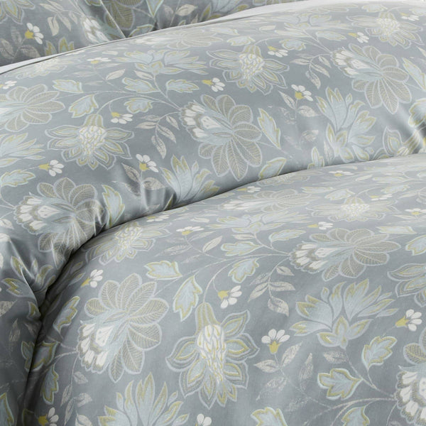 Infinite Blossom Reversible Comforter Set in Steel Blue
