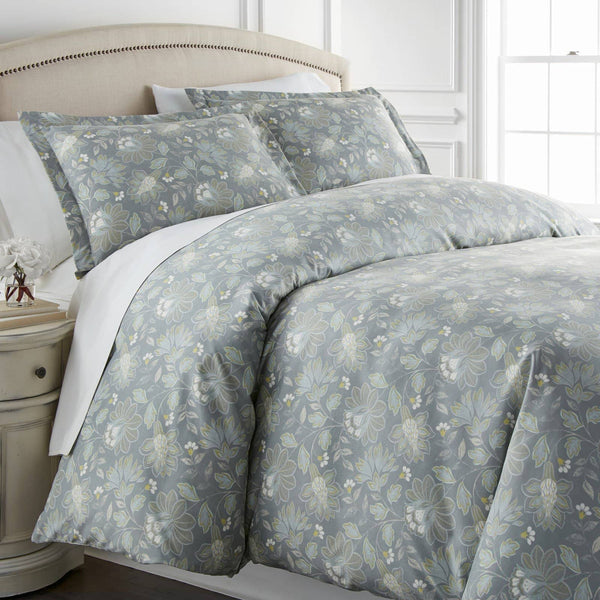 Infinite Blossom Reversible Duvet Cover Set in Steel Blue