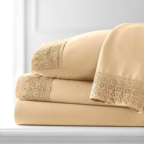 Vintage 4-piece Crochet Lace Hem Extra Deep Pocket Comfortable Sheet Set in Gold