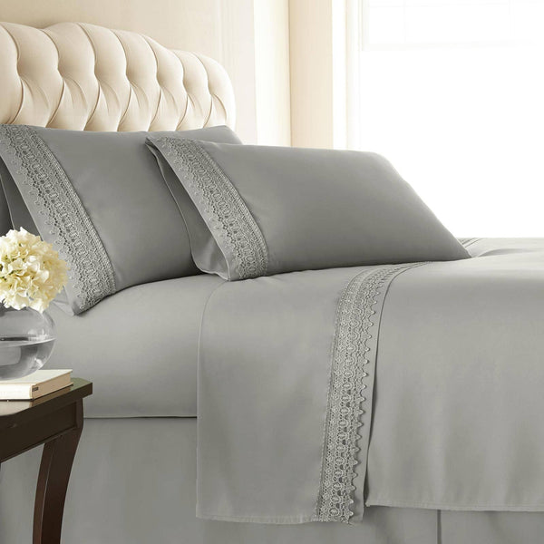 Vintage 4-piece Crochet Lace Hem Extra Deep Pocket Comfortable Sheet Set in Steel Grey