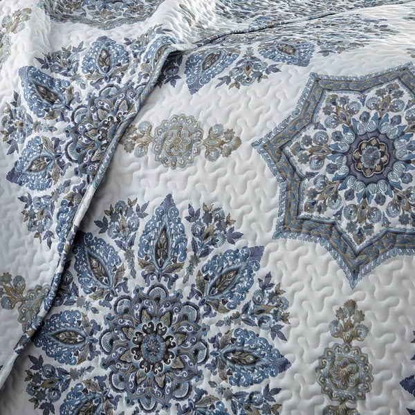 Infinity Reversible Quilt and Sham Set in Blue