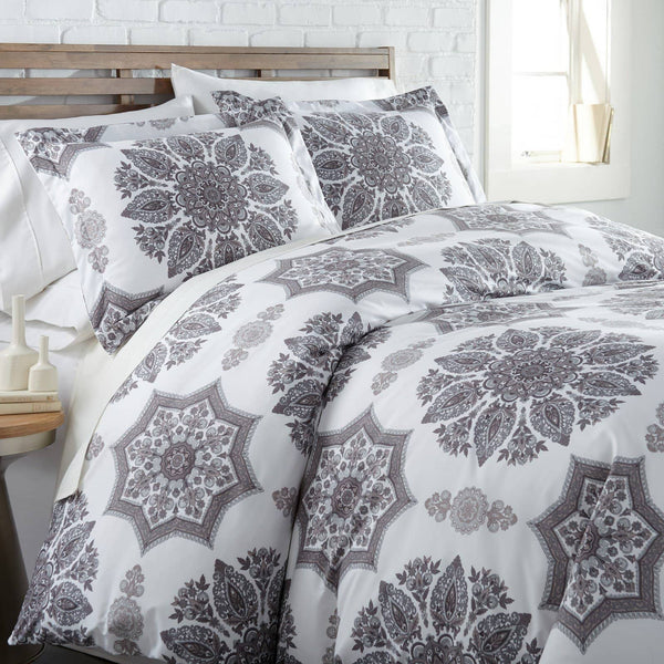 Infinity Reversible Duvet Cover and Sham Set in Grey