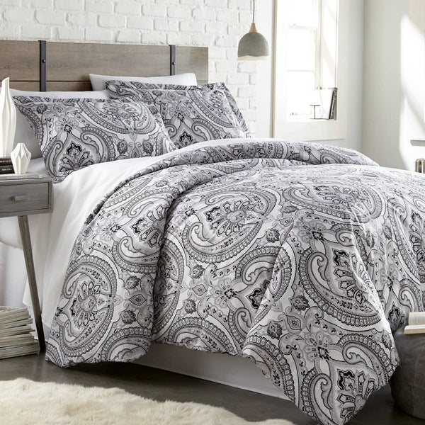 Reversible Black Pure Melody Microfiber Comforter and Sham Set by Southshore Fine Linens Main Image