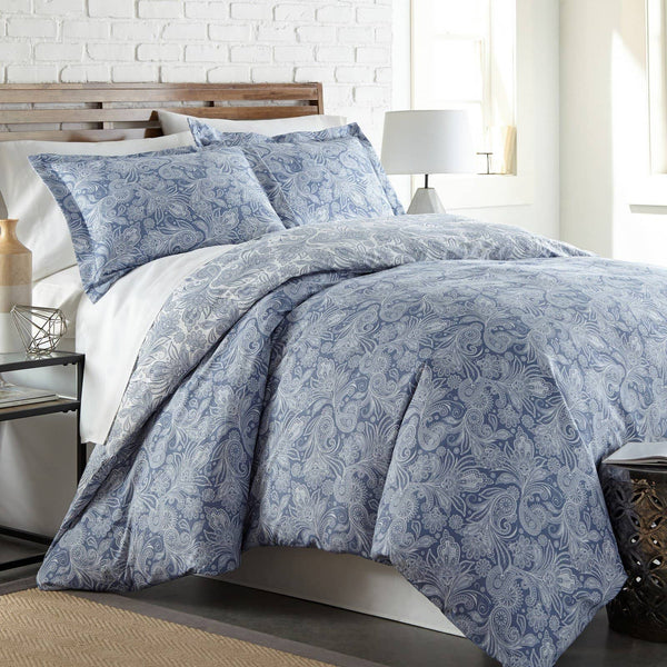Reversible Blue Perfect Paisley Microfiber Comforter and Sham Set by Southshore Fine Linens Main Image