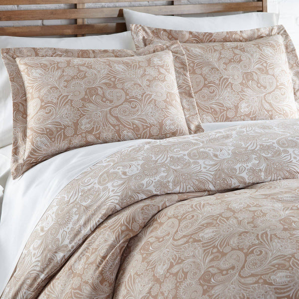 Reversible Taupe Perfect Paisley Microfiber Comforter and Sham Set by Southshore Fine Linens Image 2