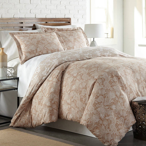 Reversible Taupe Perfect Paisley Microfiber Comforter and Sham Set by Southshore Fine Linens Main Image