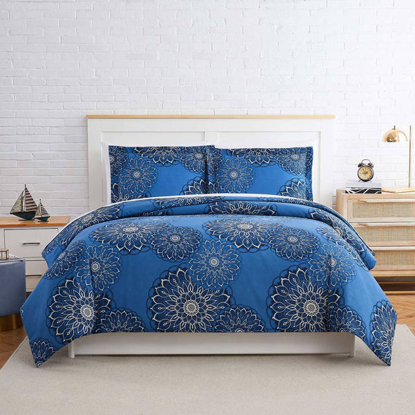Midnight Floral Duvet Cover Set in Blue