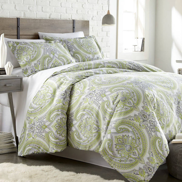 Reversible Green Pure Melody Microfiber Duvet Cover and Sham Set by Southshore Fine Linens Main Image