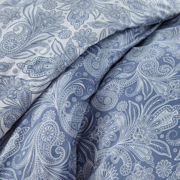 Reversible Blue Perfect Paisley Microfiber Duvet Cover and Sham Set by Southshore Fine Linens Image 3
