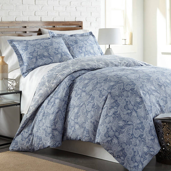 Reversible Blue Perfect Paisley Microfiber Duvet Cover and Sham Set by Southshore Fine Linens Main Image