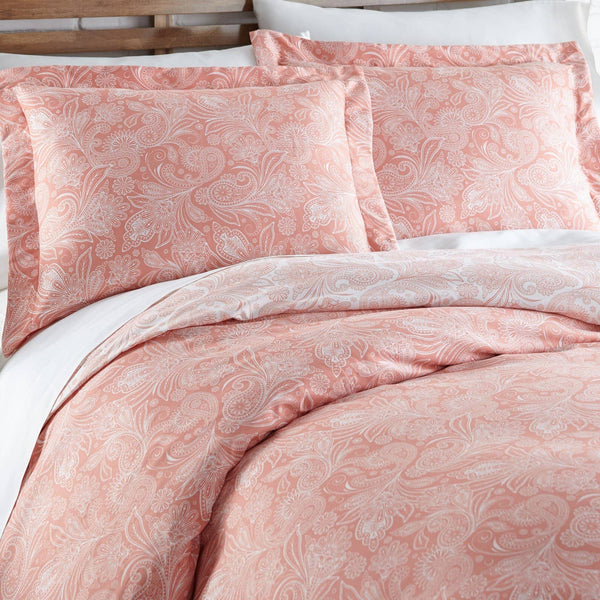 Reversible Coral Haze Perfect Paisley Microfiber Duvet Cover and Sham Set by Southshore Fine Linens Image 2