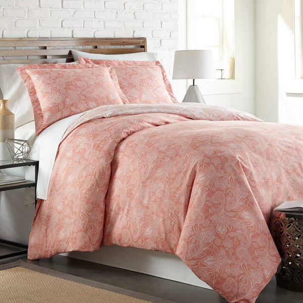 Reversible Coral Haze Perfect Paisley Microfiber Duvet Cover and Sham Set by Southshore Fine Linens Main Image