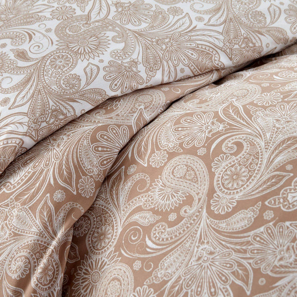 Reversible Taupe Perfect Paisley Microfiber Duvet Cover and Sham Set by Southshore Fine Linens Image 3