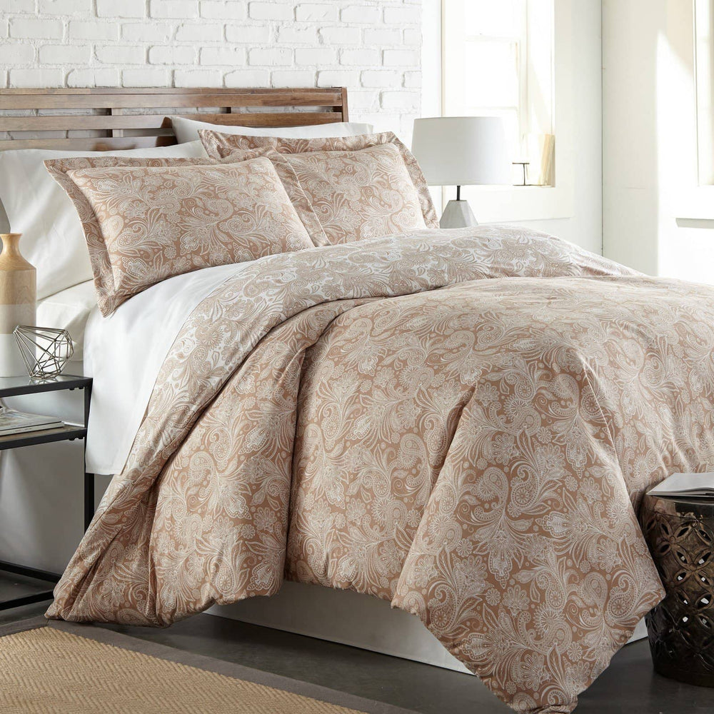 Reversible Taupe Perfect Paisley Microfiber Duvet Cover and Sham Set by Southshore Fine Linens Main Image