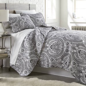 Reversible Black Pure Melody Microfiber Quilt and Sham Set by Southshore Fine Linens Main Image